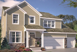 Welcome to the Redwood floor plan featuring exceptional curb appeal and a covered front porch. *Picture of the exterior of home, actual exterior color may vary.