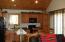 kitchen with patio doors to wood deck