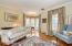 Living room with custom window treatments