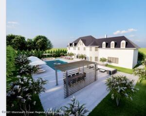This virtual rendering depicts some upgrades to the exterior and a swimming pool with pergola; the property can accommodate a pool ; the actual dimensions and lot coverage may be subject to town approval.