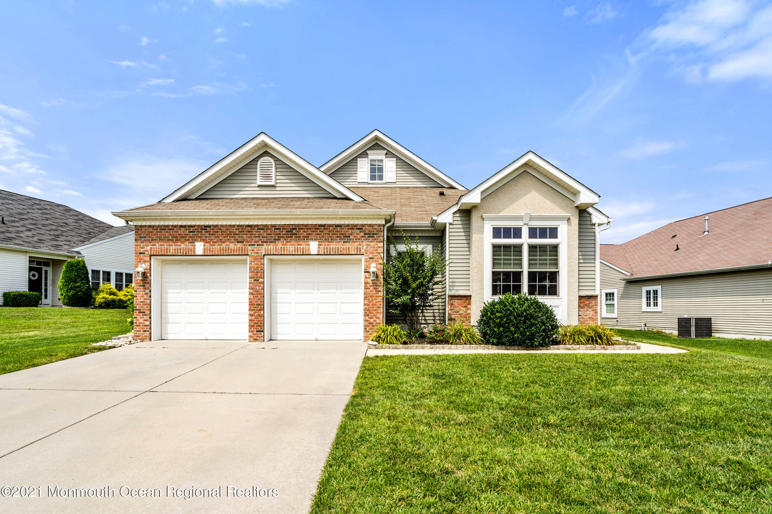 Welcome to this rare find Catalina model in Greenbriar Oceanaire Golf & Country Club.  This lovely 2 bdrm, 2 ba home has an extra bonus room that can be used as an office or 3rd bdrm. The attractive Kitchen has S/S appl, White Cabinets, Granite Counters and a Center Island.  The Dinette has a sliding door that leads to the patio w an electric awning in a very private setting with beautiful tall trees. From the large family room you enter the sunroom with skylights and arched windows. The master bedroom has a bonus sitting room, an oversized custom walk-in closet and beautiful master bath with double sinks and a whirlpool tub.  The large guest room also has a walk-in closet. The garage has a ceiling mount heater.  All appliances and blinds are included in this charming home.