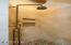 Loft, limestone walk-in shower,