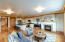 Open floor plan with gas fireplace