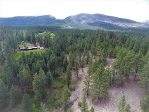 Aerial view showing portion of 10 acres SE of home and Bitterroot Mountains