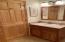 Guest Bath: Cherry Cabinet, Tile Flooring