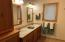 Italian Tile: Heated floors: Double Sinks, Shower, Rustic Cherry Cabinets: extra towel storage