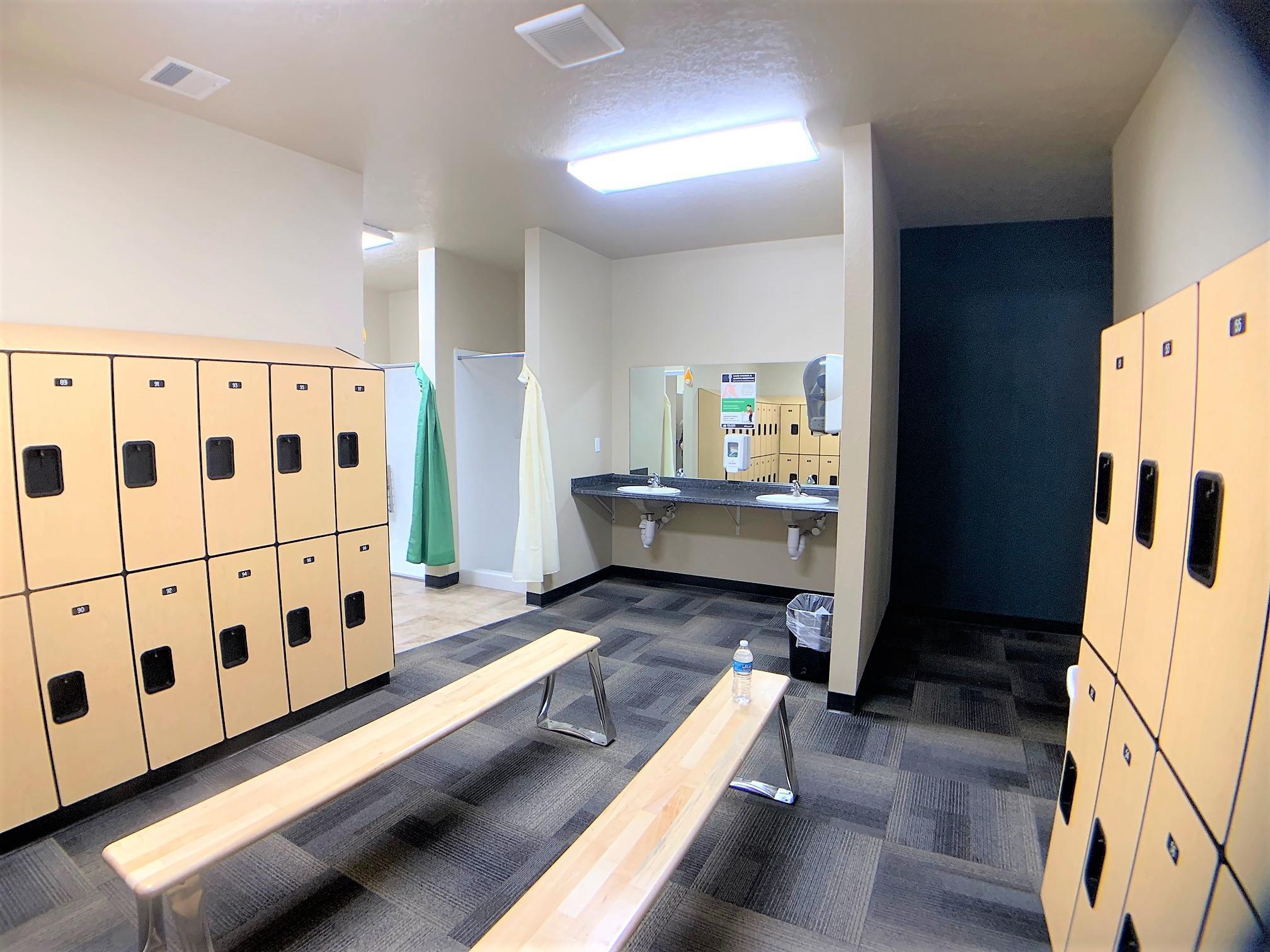 locker room with sinks