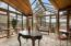Vaulted open glass ceiling and walls