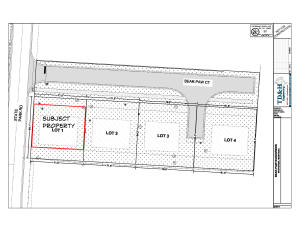 Net area of lot (minus easements) shown in red