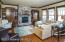 stone gas fireplace with beautiful built-ins
