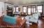 family room in lower level (10 ft ceilings)