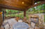Rear patio with gas fireplace and privacy!