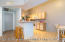 Open flow living room into kitchen, split floor plan