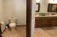 2nd upstairs master with water closet, double sinks and full shower/tub.