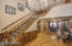 Grand staircase with inlayed wood design