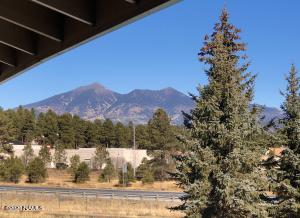 View of the San Francisco Peaks from the front porch.