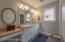 Twin Sinks. Separate Vanity w/Drawer. Ceramic Tile Floor