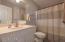 Hall Bathroom New Light Fixtures & Faucets. Ceramic Tile Floor