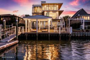 waterfront pelican twilight