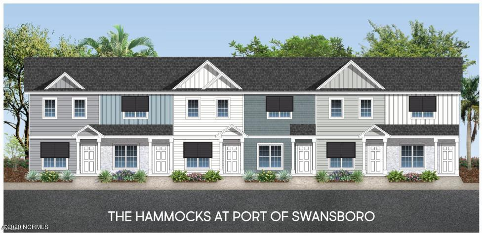 Introducing... The Hammocks at Port Swansboro!  Swansboro's premier townhome community just minutes from historic downtown Swansboro, Camp Lejeune, Crystal Coast beaches, dining, entertainment & more! The interior features throughout are the most sought after including granite countertops, painted cabinets, LVP flooring, oil rubbed bronze hardware and lighting, stainless appliances, and so much more! You'll love the spaciousness of the open concept living room,kitchen and dining. You will be amazed at how much cabinet and counter space it offers! Just off the breakfast/dining area you'll find a covered patio giving you THE perfect place for entertaining summer evenings with an additional storage space for all those beach and pool toys! Upstairs you'll find two spacious bedrooms with ensuite bathrooms and large closets. For your convenience, the large laundry closet is also upstairs. There's even a community pool for days of fun in the sun right at home! These stunning well-priced townhomes feature stone, board and batten vinyl and beachy Bohemian style awnings in one of the very best locations in Swansboro. But you'll need to hurry because they won't last long! Call us today to reserve your tour!***ALL PHOTOS ARE OF SIMILAR HOME***