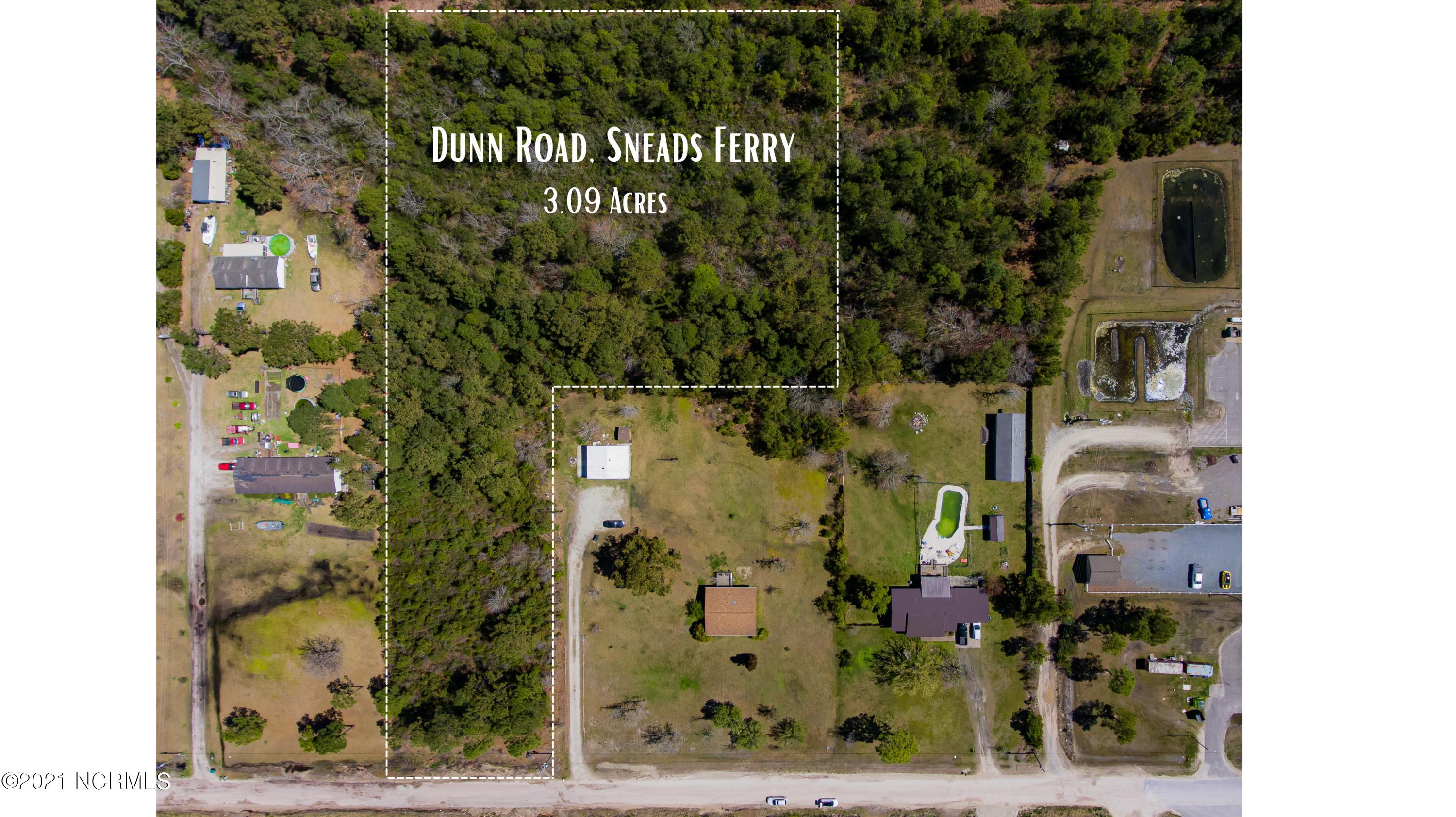 Over 3 FULL ACRES in Sneads Ferry! With a lot this size you are sure to have space and privacy. Located just 5 miles to Topsail Island, Camp Lejeune, and Stone Bay! Enjoy NO HOA or city taxes. Dunn Road is a private & unpaved road.