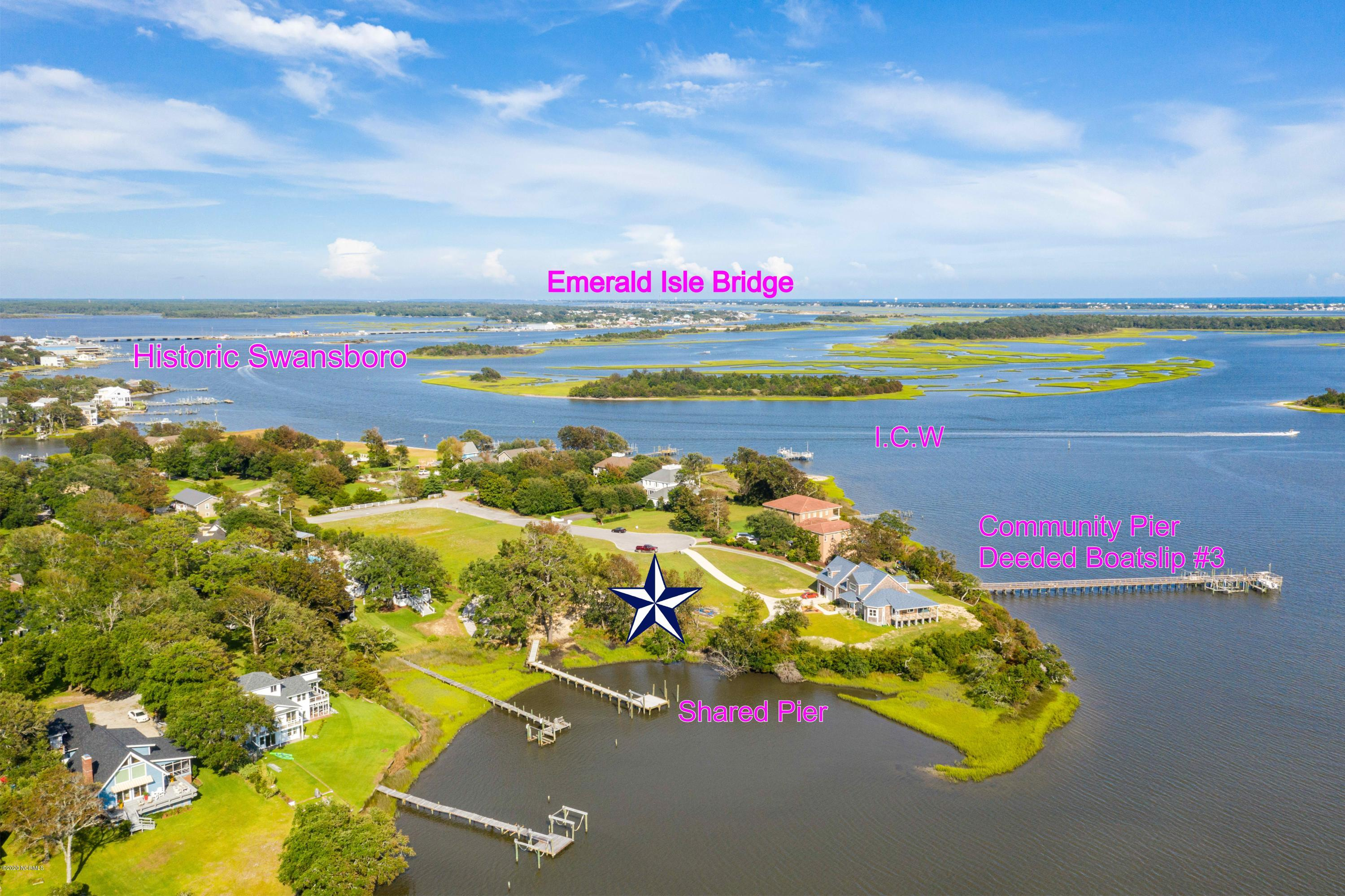 Beautiful high WATERFRONT lot on Jones Bay in the upscale neighborhood of Barbour Point in Swansboro NC. Only seconds via boat to the I.C.W and Historic Swansboro! Dine, Island hopping down the intracoastal, access the White Oak River or the Atlantic Ocean. Lot features include a shared pier with easement between the neighboring lot PLUS a DEEDED Boatslip #3 on the Community Pier. Property is located on a quiet Cul-De-Sac. The walkway to the community pier & boat slip is one lot over. Expired 4 bedroom Septic permit on file. So many possibilities for this beautiful Waterfront lot. Conveniently located between Jacksonville, New Bern and  Morehead City.  Come take a look!