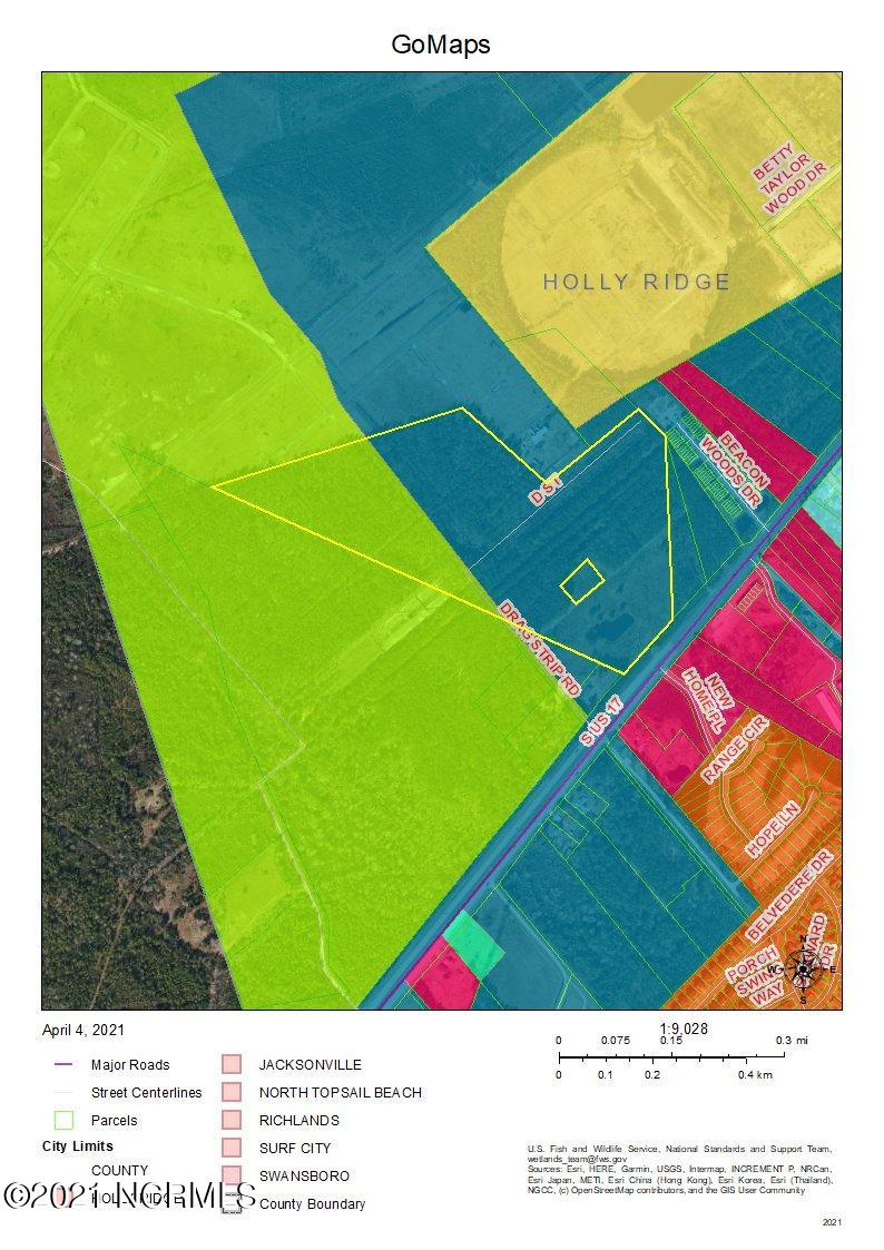 48 Acre +/- Tract on High Traffic Flow Hwy 17 in fast growing Holly Ridge ETJ, Water and Sewer connections are possible, would make great location for commercial, mixed use or residential.