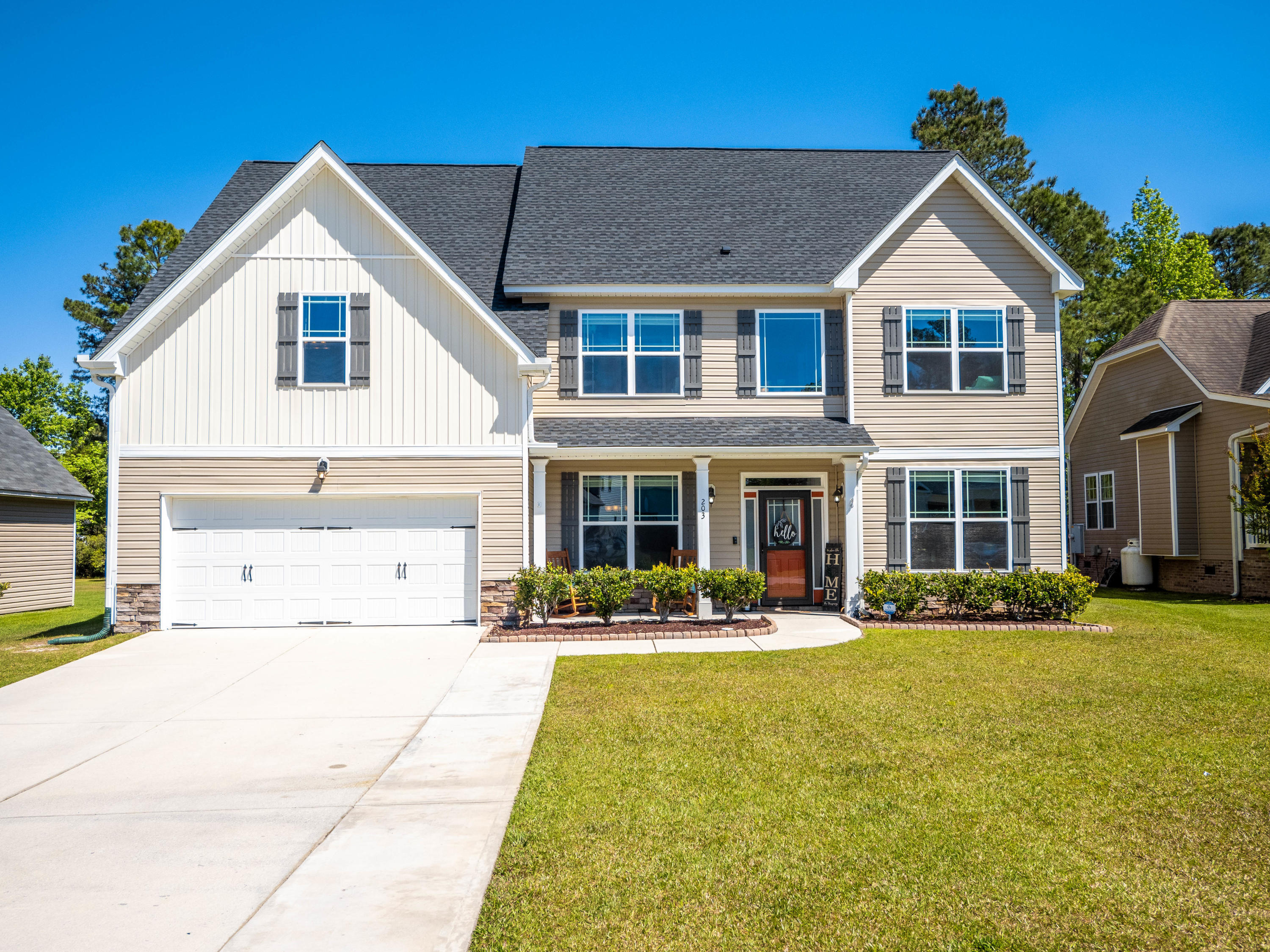 This beautiful homes' architectural exterior will catch your eye when you enter Southwest Plantation subdivision next to Bear Trail Golf Club. This home is conveniently located near the community entrance and 1 house away from the school bus stop pickup/drop-off location. This Hamilton floorplan and home was built in 2012 and has 3125 sq.ft. boasting 4-bedrooms (+ bonus room = current use as a home theater), 3 full bathrooms. Your 1st floor entry has cathedral ceilings, a formal dining room to the left with coffered ceilings and craftsman style columns and to the right a den. The chef's kitchen has granite countertops, pantry, a new dishwasher, new microwave, kitchen refrigerator stays, and island with seating for 2. There's also an eat-in dining room that faces the family room with a cozy wood burning fireplace and stairs. This home has 1 downstairs guest bedroom that directly connects to the 1st floor full bathroom and the upstairs guest bedrooms share a jack-and-jill bathroom. On the opposite side of the upstairs level is the master bedroom which includes a sitting area, walk-in closet, separate walk-in shower and soaking tub. The homes upstairs laundry room will come with the washer & dryer + the kitchen will include the refrigerator with icemaker and water dispenser, along with the newly installed additional appliances: electric cooktop, microwave, and dishwasher. The home also has a newly installed 2018-2019 architectural shingle roof, storm door on the front and rear doors, and the garage comes with overhead storage racks. The large upstairs bonus room is currently being used as a home theater room and the equipment will not be sold with the home unless negotiated. The 6' privacy fenced in backyard will come with the playground. The front driveway concrete was expanded, and a sump pump was installed in the front yard to help remove what once was excess water on/near the driveway. The flooring is LVP downstairs in the main living areas and all bedrooms and sta