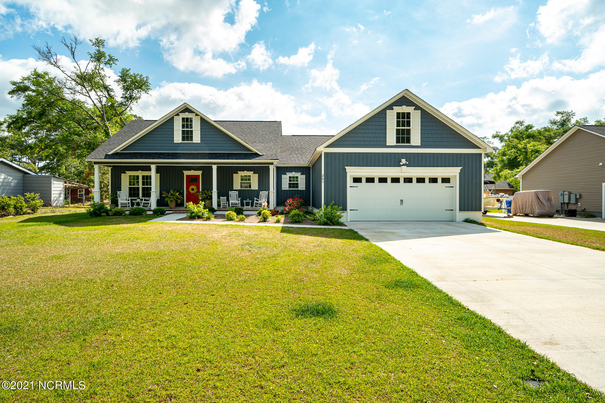 LOCATION, LOCATION, LOCATION! Like New.  Built 2019. Over 2000 HSF ranch in Cape Carteret and around the corner from boat ramp!   This is a large 3 bedroom and 2 bath with split plan and open concept. Huge master with en suite. Lots of storage and a butler/ laundry room pantry. Granite and stainless in this fantastic kitchen space. No carpet, LVP through out and tile in baths.  Fisherman's storage area  and screened porch. Make your appointment now.  Won't last on market long.