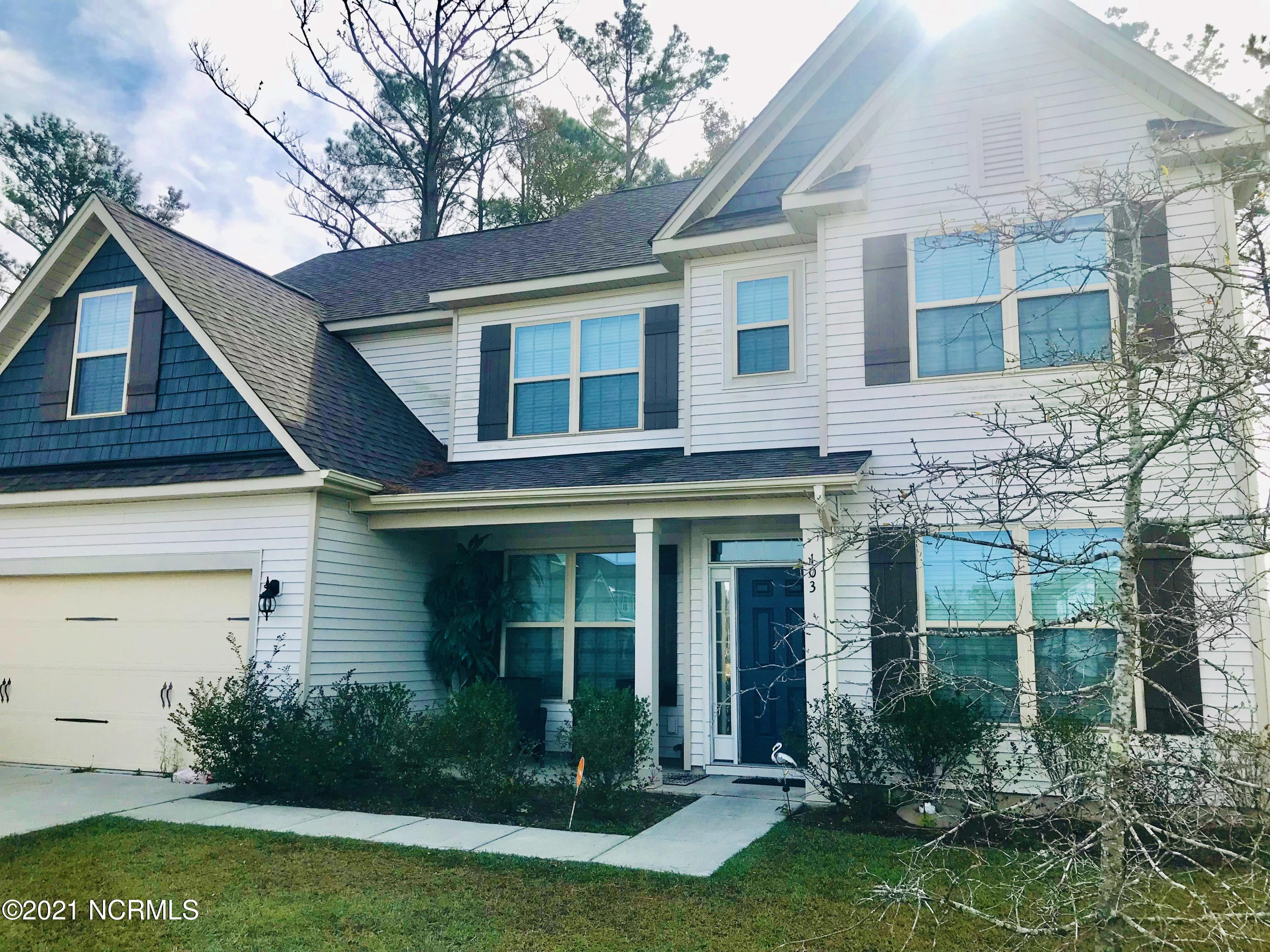 Sought after neighborhood within biking distance of Hammocks Beach State Park. 5 bedrooms with a FROG, a Flex/Office, and a Bonus Room! 3 full bathrooms. Fenced in yard. ***All VA & FHA Buyers need to attach an Appraisal Addendum to the offer.