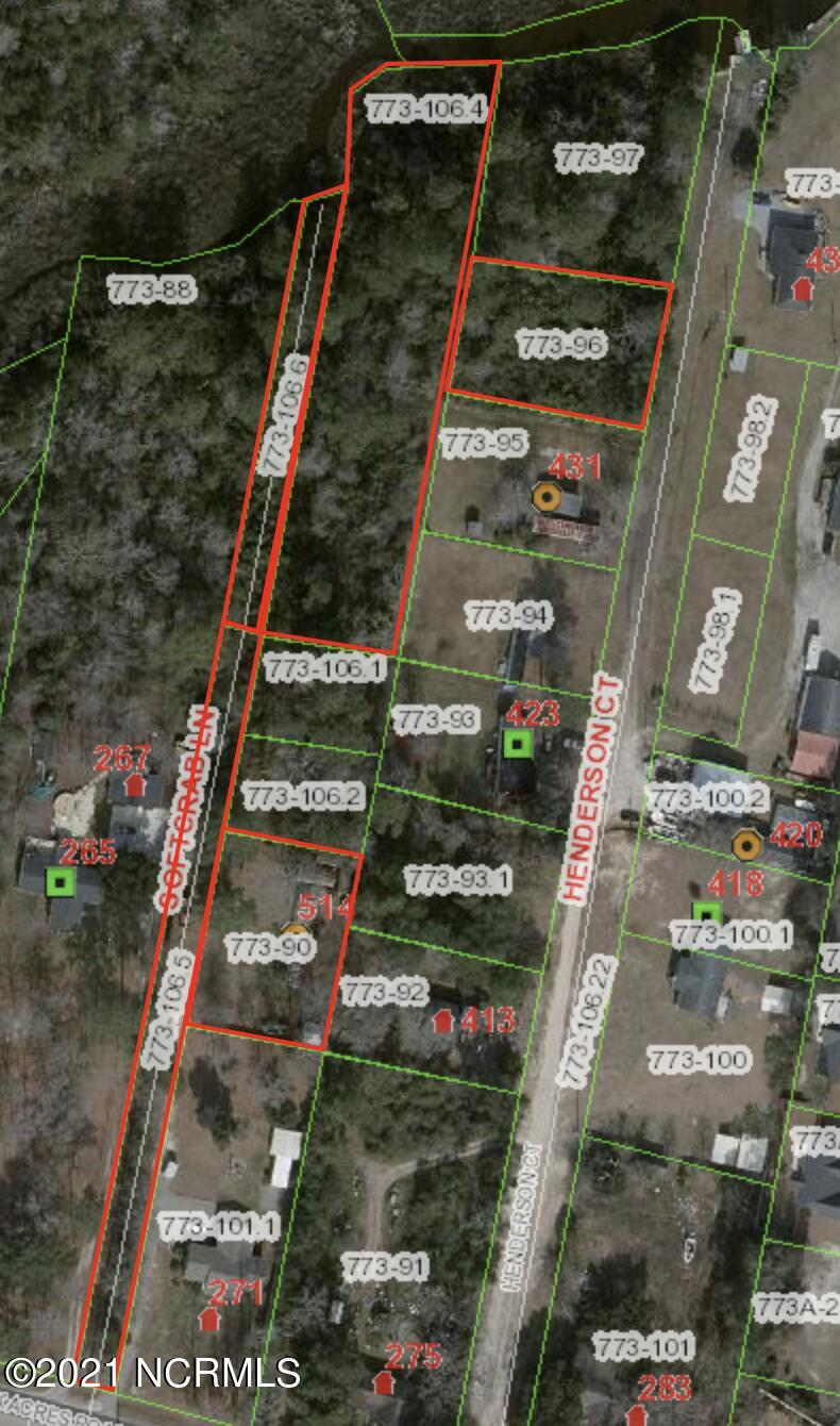 5 Parcels totaling 2.37 acres! One parcel is over an acre and is WATERFRONT on Fullards Creek. 2 parcels make up the road Soft Crab lane. A second lot is located on Soft Crab totaling .36 acres. The third lot is located on Henderson Ct with .35 acres. There is an existing septic tank and county water on one of the lots. The other lots do not have water and septic.