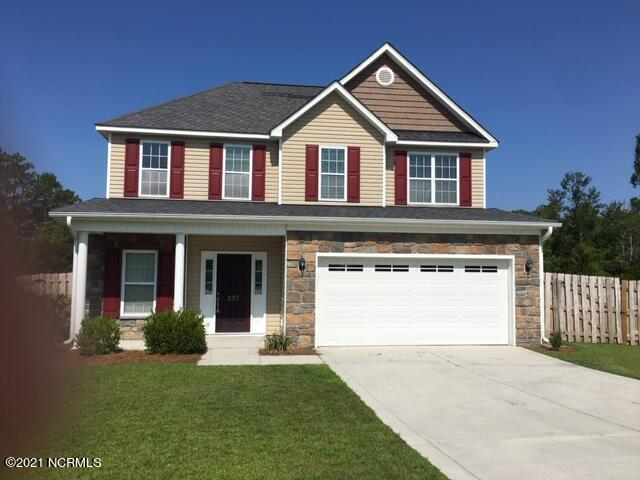 GREAT LOCATION close to bases, beaches, schools,  and shopping. Just outside of Swansboro which has great restaurants and down town shopping.  Gated Community with community pool, clubhouse, play ground, basketball court, and large recreational area.  Very well maintained home on 1.01 acres.  Three bedrooms, two and a half baths.  Master bath has double sinks with walk in shower, Jack & Jill full bath for other bedrooms  Stainless Steel appliances in kitchen also included is a pantry and island.  Two car garage with room for storage.  NO CITY TAXES
