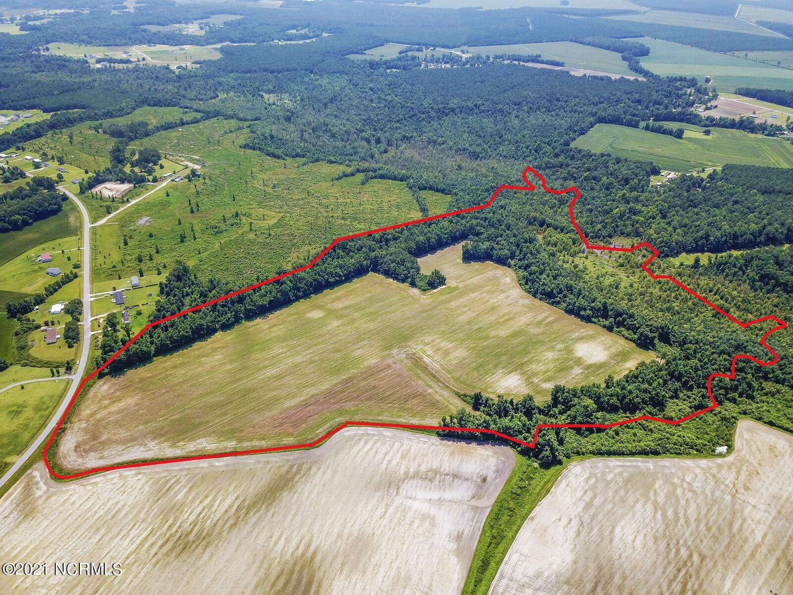 Approximately 63 acres of undeveloped land, currently used partially for agricultural lease, with about 32 acres of wooded buffer around the back and left side of the parcel. This land has historically produced soybeans, tobacco, corn, and currently has beans planted for the 2021 late season. Tax advantages are available if you want to continue agricultural uses, ask for details. Soils on this parcel include Goldsboro, Norfolk, and some Mucklee, as expected in the wooded area. The wooded area on the back of this property does have flood zone on it, but the field does not. A culvert from Hadley Collins, a state maintained road, provides access for farm equipment, or your future home.