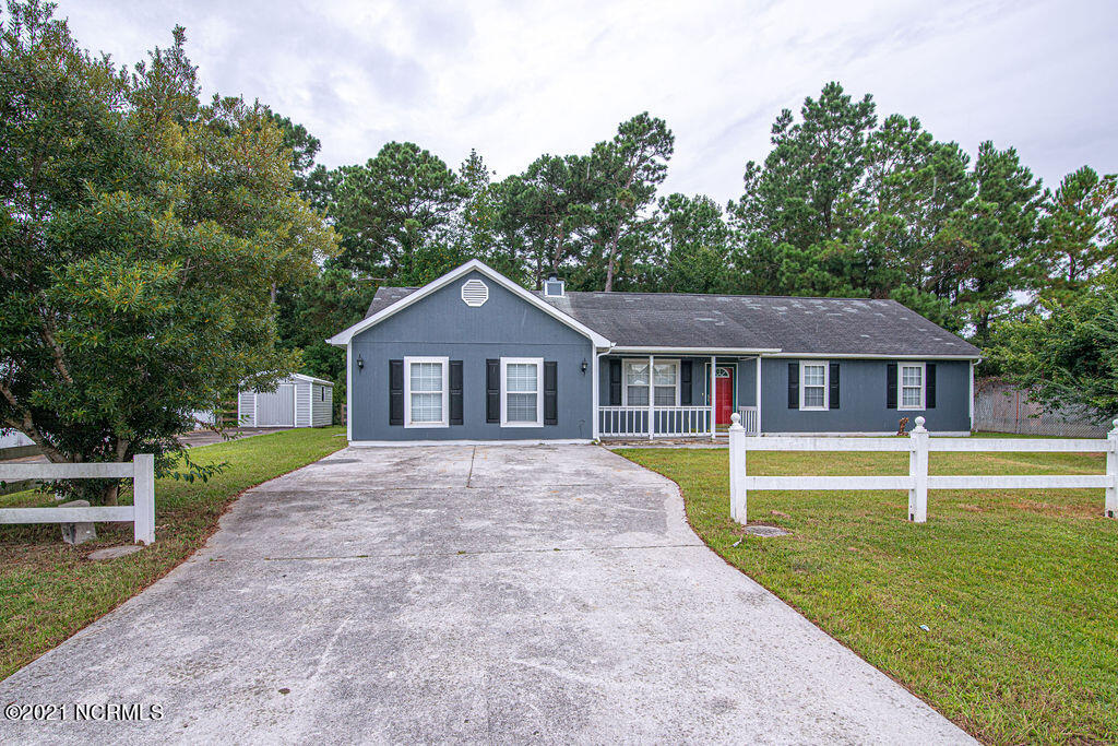 A spacious Foxtrace subdivision home just hit the market in Hubert!! This gorgeous home features 3 bedrooms, 2 bathrooms with a bonus room (not included in square footage). With new paint and carpet, this one-story home sits on .39 lot with an open living room and a fireplace. The kitchen comes equipped with wooden cabinets, plenty of counter space and even has a bar top seating option. This stunning home also boasts a double closet space and full bathroom in the master bedroom. During the summer, entertain in style in your large backyard or relax in the enclosed patio. Located in a quiet neighborhood, in the Onslow County school district, just minutes away from Camp Lejeune HWY 172 gate. ***1 year home warranty to be included with accepted offer! $2000 seller concessions to use as you choose*** Stop by and take a look and envision yourself sitting on the front porch enjoying a beautiful North Carolina sunset!