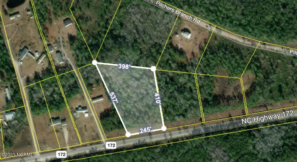 New Listing in Sneads Ferry.  Over 3 acres with 245' road frontage on Hwy 172. This land is zoned Residential-Agriculture for low density residential and agricultural purposes. No HOA. Build a single family, modular or manufactured home. 4 bdrm septic to be renewed. Looking to build more than one home, according to Onslow zoning and planning, this land can also be subdivided. Located near the back gate of Camp Lejeune military base and N Topsail Beach is just across the bridge. Convenient to Jacksonville and Wilmington. Great opportunity in this fast growing community.
