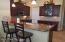 Low top breakfast bar with quartz countertops