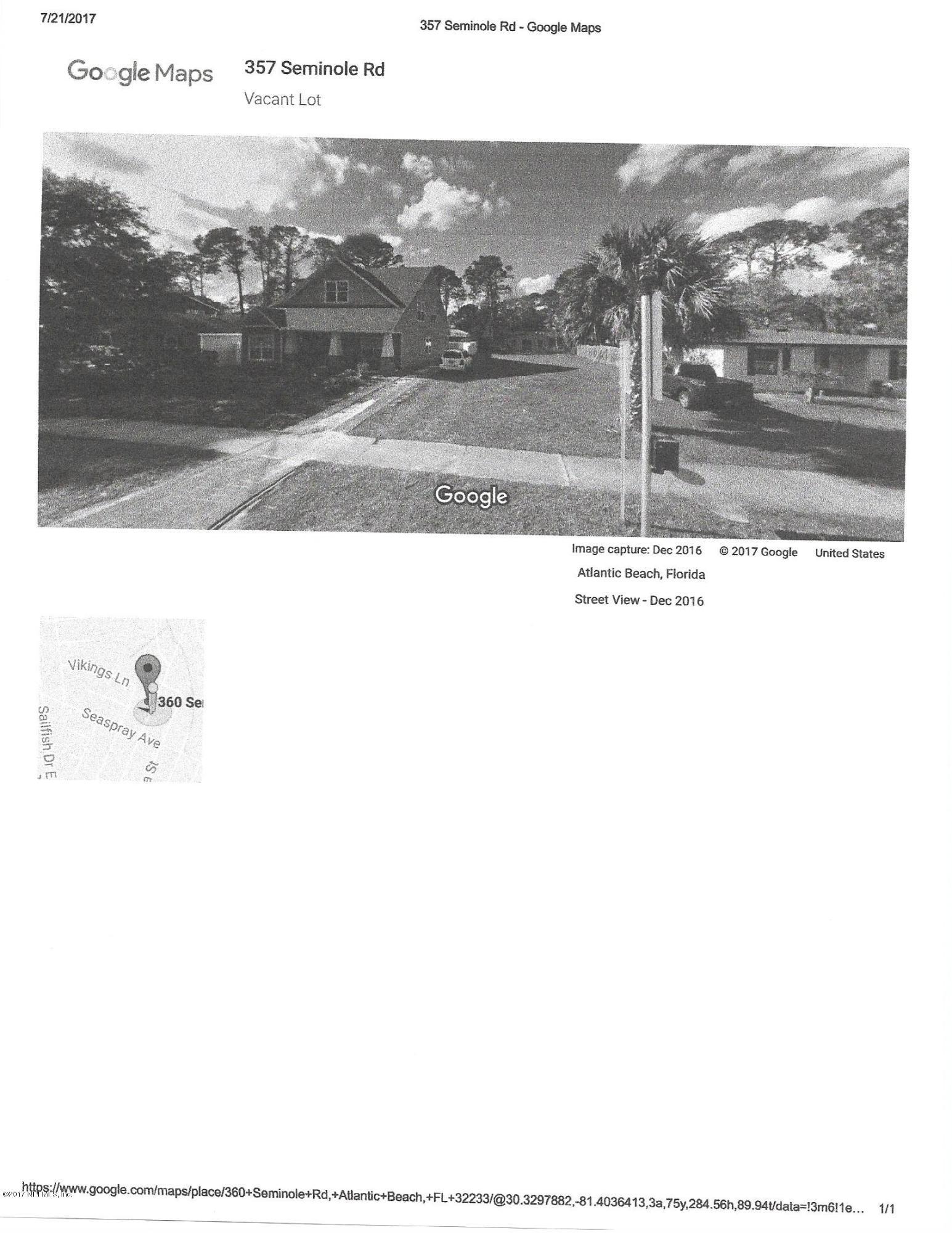 0 SEMINOLE, ATLANTIC BEACH, FLORIDA 32233, ,Vacant land,For sale,SEMINOLE,892852