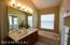 Luxury bath with double sinks, separate garden tub