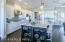 Perfect layout for cooking and socializing with family and friends in this huge kitchen space.