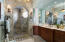 CUSTOM WOOD CABINETS, MARBLE COUNTER,TILED FLAGSTONE SHOWER, HEATED TOWEL RACK