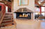 Multisided gas fireplace on main level