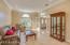 Formal Living Room towards French Doors & Custom Crown Moulding