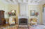 Wood burning fireplace with Indiana Limestone hand-carved mantle