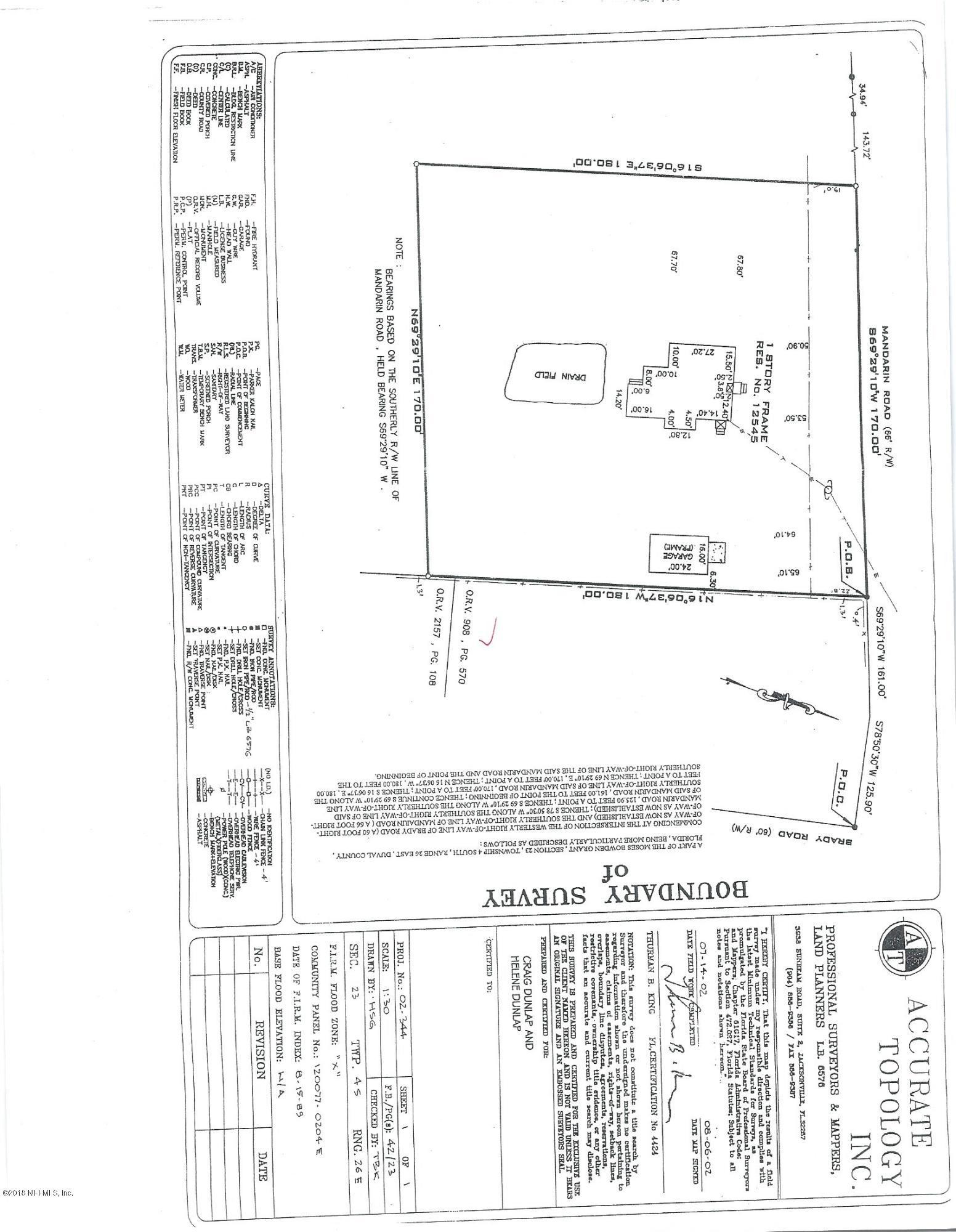 12563 MANDARIN, JACKSONVILLE, FLORIDA 32223, ,Vacant land,For sale,MANDARIN,938090
