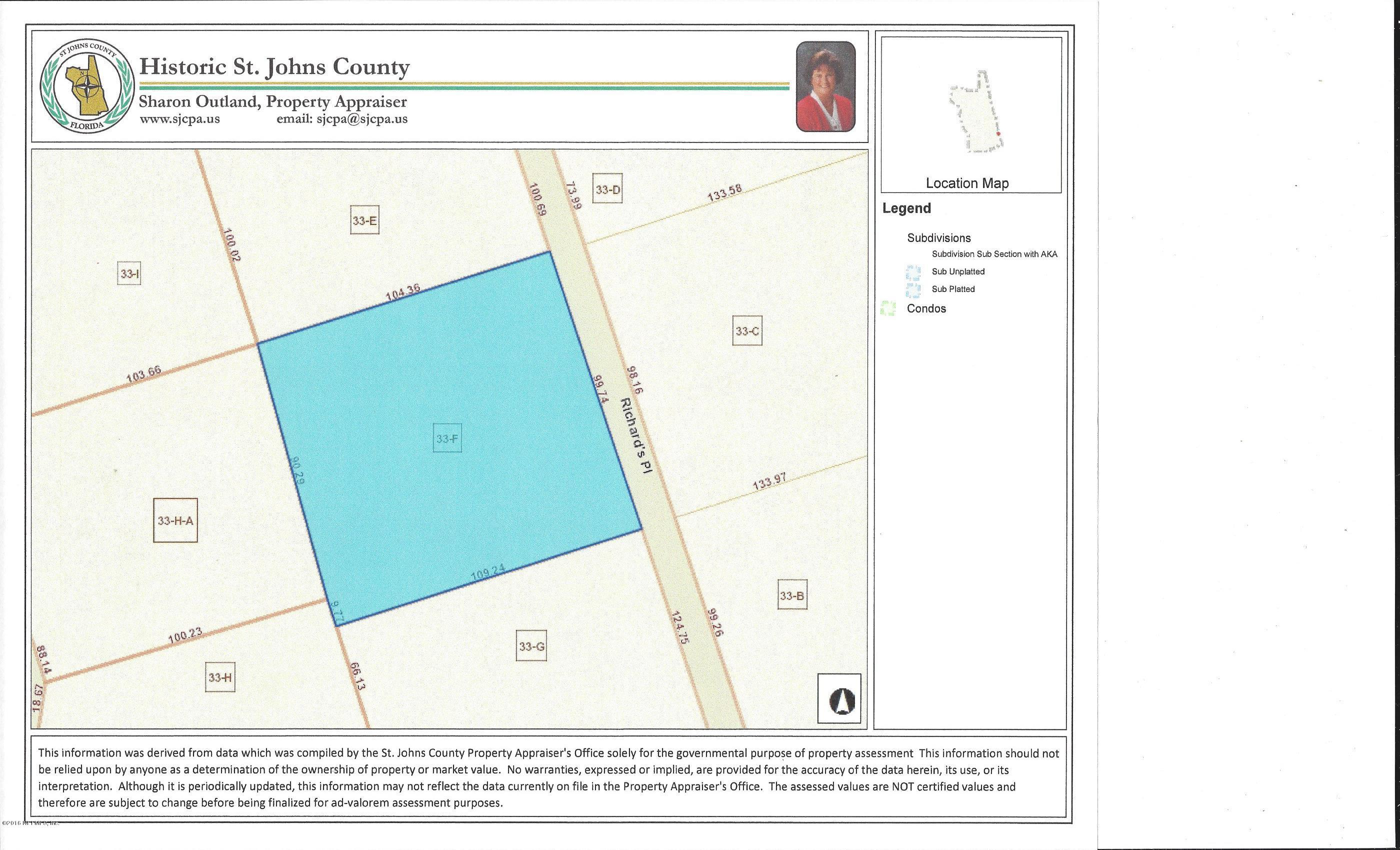 6917 RICHARDS, ST AUGUSTINE, FLORIDA 32080, ,Vacant land,For sale,RICHARDS,940793