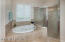 Jetted tub. Over-sized Shower
