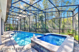 Saltwater, heated pool and waterfall spa with preserve and lake views