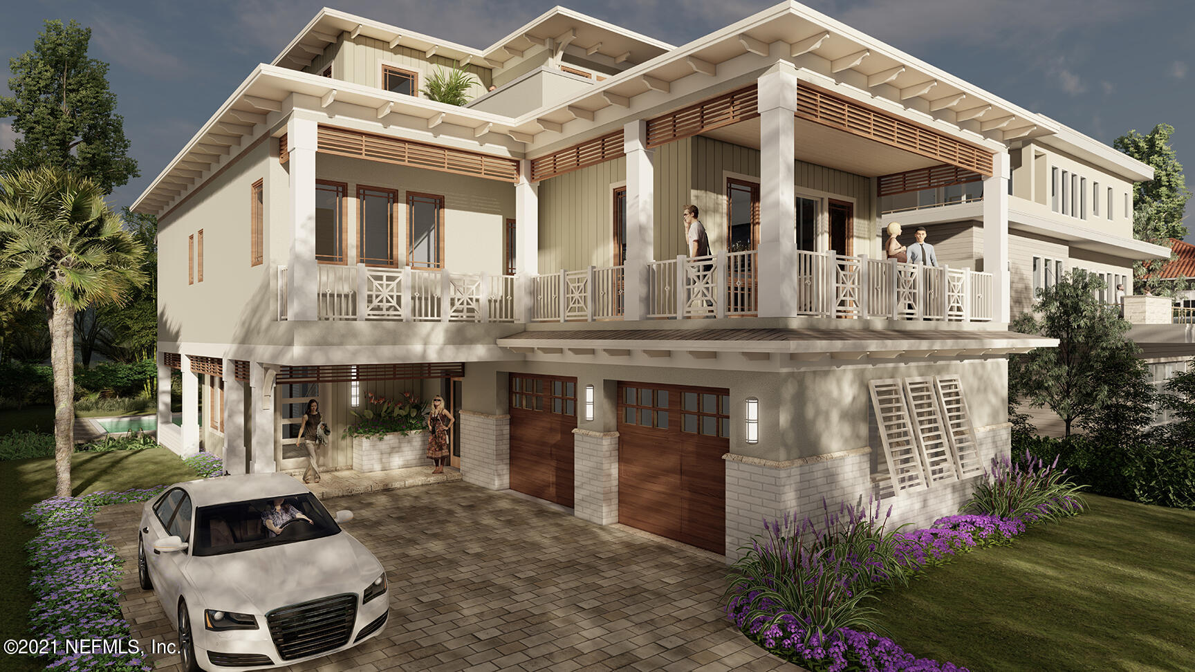 BRAND NEW CONSTRUCTION in desirable South Jax Beach on prestigious Ocean Drive!   Walk across the street to the beach and enjoy breathtaking view from the top levels of this stunning 3 level POOL home. With 3748 sf, 5 bedrooms, 5 full bathrooms, 2 half bathrooms plus an office and elevator from ground level up. Built with the highest structural finishes including concrete block on first level, tile roof and impact glass windows. Stunning interior finishes with windows, sliding glass doors and ocean terraces designed to capture the quintessential ''beach life''. After a day at the beach, relax by the pool and summer kitchen.  Walk the quiet community and enjoy nearby local shops and dining. Completion is estimated within 10-11 months.
