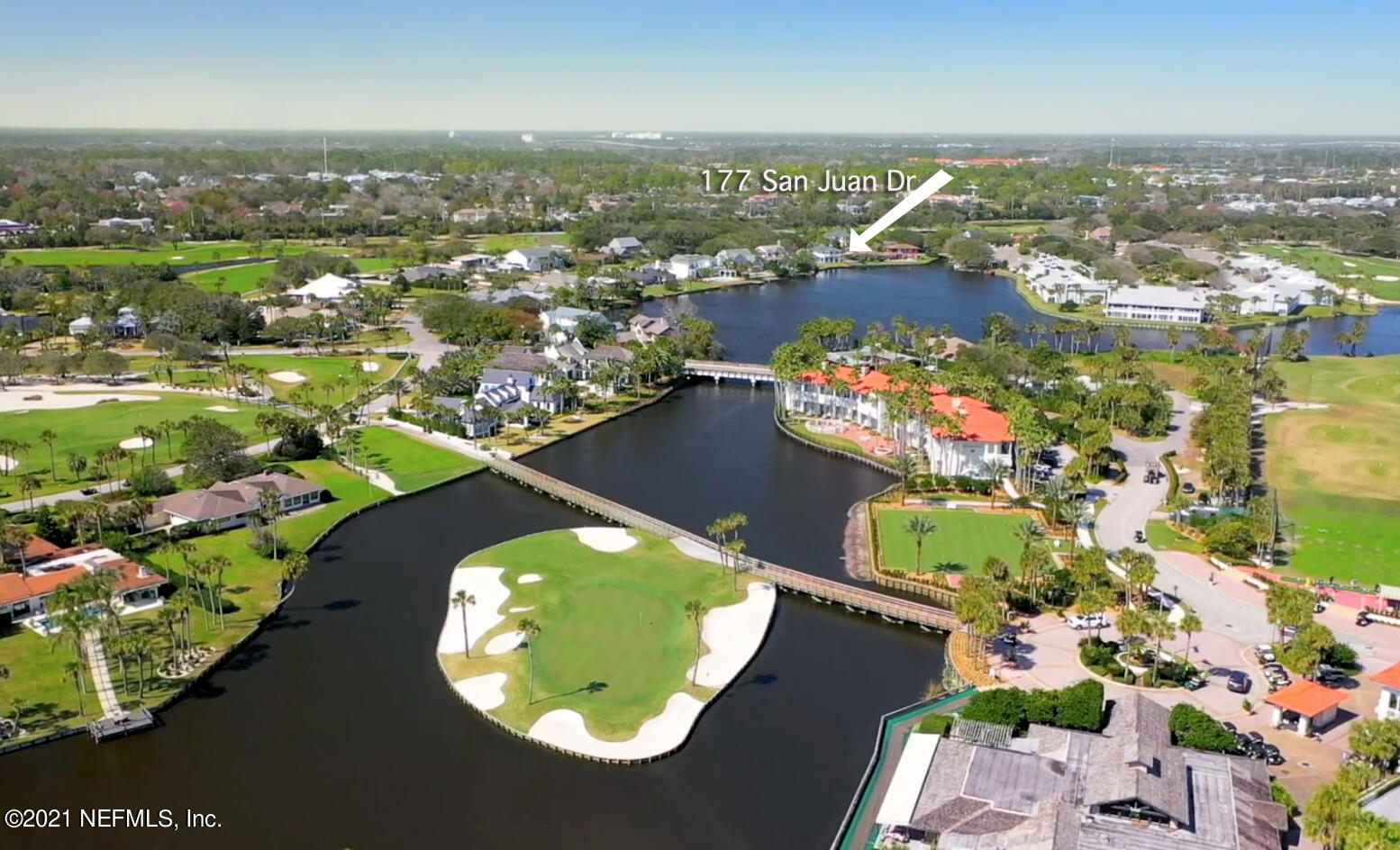 Great Investment property in Old Ponte Vedra Beach! 105 ' Lake frontage! Dock may be extended to 1000 sq ft. Large lot w only 20 ft setbacks allowing for more room to build , a better view and walking access to the PV Inn and Club which is much appreciated on weekends as club parking becomes a challenge!  Sandwiched between two pristine 18 hole golf courses and situated on a stretch of beautiful lagoon shoreline the veranda and covered balcony face East to the Atlantic Ocean. Sleep to the sound of the waves crashing on golden sandy beaches just a quick stroll away.  The proximity of the home to the Ponte Vedra Inn and Club allows the homeowner to take full advantage of all the amenities of the club. Within walking distance! Two 18 hole Golf courses, Racquet Club, Gym, Spa and Oceanfront d A complete renovation and addition were recently completed on this home! A new master bedroom and adjacent sitting area were added upstairs as well as a spacious covered balcony. Amenities include full wet bar, TV and surround sound speaker system. The master bathroom  has a spa like feel to it with travertine floors and shower tile as well as a state of the art kohler shower system. Two separate vanities with his and her own personal sinks, separate toilets and two spacious walk- in master closets. Washer and dryer connection so that you may have a laundry on both floors. The covered balcony off the master bedroom catches a nice tropical breeze and the views of the lake from here are magnificent. The Eastern exposure provides a cool shade for evening entertainment as the summer sun sets in the west. The ground floor hosts an open living area with ground floor master bedroom option as well with views of the lake and a 2nd bedroom on the opposite side of the home also enjoying water views. Almost every room in the home has a view of  water and nature. Impact resistant slider doors and windows let in an abundance of light! You feel very protected from the elements in this home as it was built very solidly. The kitchen is a chef's dream with an oversized Quartzite countertop for food prep and entertaining and built in induction cooktop. Subzero refrigerator, thermador oven and microwave with lower warming tray! Semi walk in pantry has tons of space as well as under the prep island there are cabinets all the way around front and back!  Upgraded kitchen also features a 102 Bottle Subzero wine cooler, humidor capable! Perfect for entertaining guests!. A new bulkhead and dock were recently added! Come home to Old Ponte Vedra and enjoy the relaxed atmosphere and best beaches Northeast Florida has to offer!