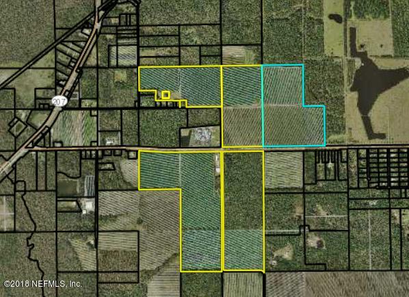 528 acres +/- of prime crop land with cooler,  equipment barns & 2 mobile homes.  Approximately 248 acres on the north side of St Rd 206 with 3300' +/- rd frtg & 280 acres on the south side of St Rd 206 with 4000' +/- rd frtg on 206. Approximately 80 acres of the 528 acres is timber. Listing includes parcels 0382100000,0381300000, 0381400000, 0380200000 &0382900000